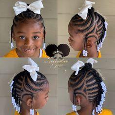 Cute Toddler Hairstyles, Black Kids Hairstyles, Baby Girl Hairstyles, Simple Hairstyles, Natural Hairstyles, Mohawk Braid Styles, Kid Braid Styles, Hair Styles, Braided Cornrow Hairstyles