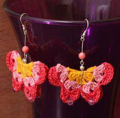 Dangle crochet butterfly earrings, rainbow lace crochet jewelry Crochet Butterfly, Butterfly Art, Butterfly Earrings, Butterflies, Hippie Crochet, Crochet Lace, Thread Crochet, Rainbow Laces, Dainty Earrings