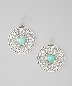 Silver & Turquoise Heart Disc Earrings | Daily deals for moms, babies and kids