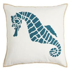 Seahorse decorative pillow with jute loop border - Turqoise – Spring & Spruce | Modern Home Decor