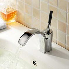Contemporary Chrome Single Handle Centerset Bathroom Sink Faucet