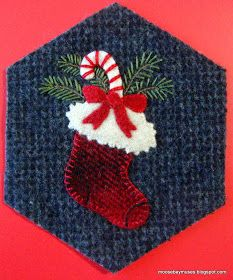 I've added a few more wool hexagons to the DONE pile: Baby Jesus Santa Candy Cane Gingerbread Man Christmas Stocking. Penny Rug Patterns, Wool Applique Patterns, Felt Applique, Felted Wool Crafts, Felt Crafts, Felt Christmas Ornaments, Christmas Stocking, Prim Christmas, Christmas Crafts