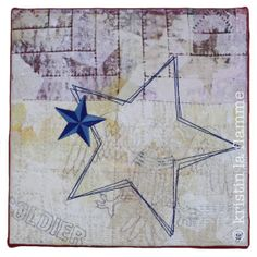 "Americana VII, 10x10"" quilted art on canvas by Kristin La Flamme."