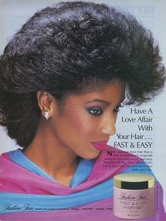 A look back at the models who advertised fashion & beauty products during the decade of excess: The Disclaimer this is a spinoff thread for the. 1980s Makeup And Hair, 1980s Hair, 1980s Black Hairstyles, Fast Hairstyles, Vintage Black Glamour, Vintage Beauty, Vintage Fashion, Big Hair, Your Hair