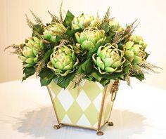 Floriculture Arrangements   Green Artichoke & Lemon Leaves / http://forevergreenart.com/home/index ...
