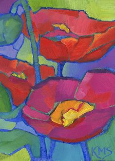 Rhapsody in Red ACEO original contemporary oil painting of bold red poppies • poppy art by Louisiana artist KMSchmidt
