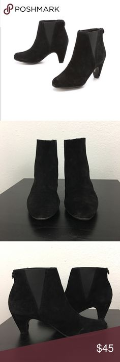 Sam Edelman Morillo Suede Slip On Booties Sz 6.5 Sam Edelman Black Suede Bootie - excellent preowned and gently worn , minor wear is shown in pics. Stretch sides and low & easy to walk in heel. Sam Edelman Shoes Ankle Boots & Booties