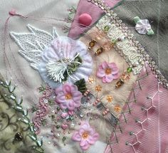 I ❤ crazy quilting, beading & ribbon embroidery . . . Cathy's Block- Embellished by Cheryl B. ~By Tenacious Threads