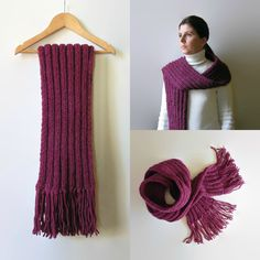 Scarf Knitted in Purple Wool - pinned by pin4etsy.com