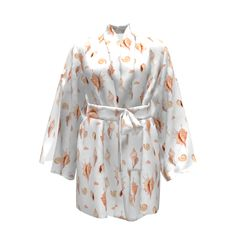 Named Clothing Asaka Kimono made with Spoonflower designs on Sprout Patterns. Watercolor hand painted seashells on a white background. Named Clothing, Web 2, Seashells, Spoonflower, Kimono, Hand Painted, Watercolor, Patterns, Sewing