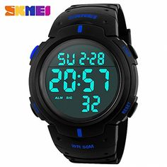 SKMEI Unisex Men Adventure Digital Wrist Watch PU Rubber Strap Night Light LCD display Multifunction Watrproof  BOX *** Read more reviews of the product by visiting the link on the image.Note:It is affiliate link to Amazon.
