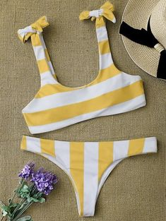 SHARE & Get it FREE | Striped Tie Shoulder Scoop Bikini Set - White And Yellow LFor Fashion Lovers only:80,000 Items • New Arrivals Daily Join Zaful: Get YOUR $50 NOW!