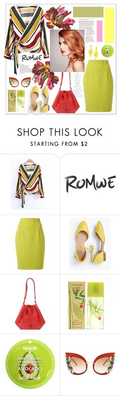 """""""Romwe.urplice Front Lace Up Wrap Top"""" by natalyapril1976 ❤ liked on Polyvore featuring Versace, Talbots, Maison Margiela, Elizabeth Arden, My Spa Life and Oscar de la Renta"""