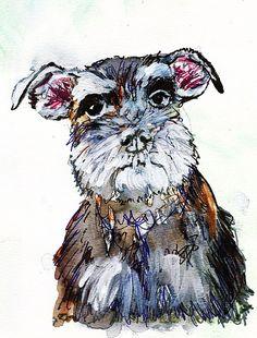 Miniature Schnauzer painting print, Dog art,schnauzer painting, Gift for Schnauzer owner,Schnauzer portrait, Schnauzer dog… #dogs #etsy #art
