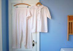 Pink Polka Dot Women's Pajamas Set Vintage 60s Cotton Pajamas Women's Pyjamas Saks Fifth Avenue Short Sleeve PJs Pants Lingerie Small