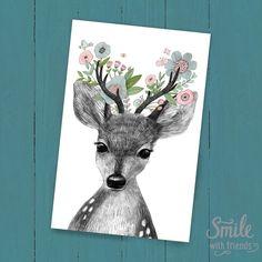 Открытка от Юлии Григорьевой c милой иллюстрацией с портретом малышки оленя в цветах станет замечательным подарком.  Наши открытки можно посылать почтой, что так любят посткроссеры со всего мира, дарить друзьям и близким, а можно просто повесить рядом с собой или оформить в рамочку.  Размер 10х15 см, печать на картоне 300 гр