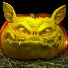 Pumpkin sculpted by Ray Villafane.