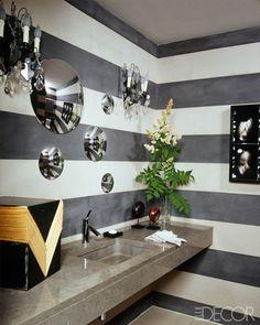 Beauty Secrets: Small Bathroom Ideas - ELLE DECOR [cannot get enough striped walls] Small Bathroom Inspiration, Bad Inspiration, Bathroom Design Small, Small Bathrooms, Bathroom Designs, Bathroom Vanity Decor, Bathroom Photos, Bathroom Interior, Bathroom Ideas