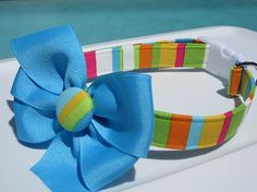 Stripes Dog Collar with Matching Blue Bow