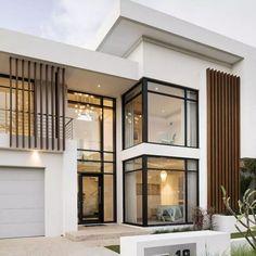 Sorrento custom built home by Oswald Modern House Facades, Modern Exterior House Designs, Dream House Exterior, Modern Architecture House, Modern House Plans, Modern House Design, Contemporary Home Exteriors, Modern Contemporary, Duplex House Design