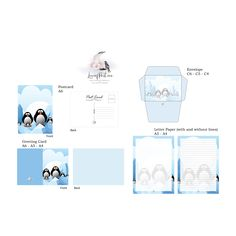 Cartoon Penguin Stationery Set - Love of Post Home Printers, Stationery Set, Digital Collage, Penguins, Card Stock, Greeting Cards, Lettering, Cartoon, Prints
