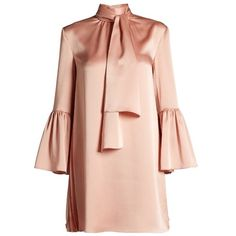 Fendi Pleat-side tie-neck satin mini dress (€1.445) ❤ liked on Polyvore featuring dresses, pink, high-neck dresses, satin dress, short pink dress, pink mini dress and short dresses