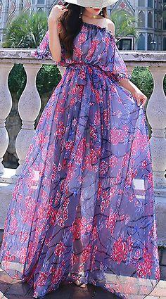 Causal O-Neck Floral Print Chiffon Maxi Dress