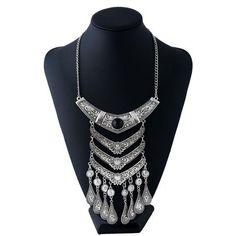 Antique T Teardrop Multilayer Tassel Necklace