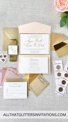 Pink and Gold Wedding Invitations Pocket folder Wedding Invitations, pink gold Whimsical Wedding Invitations, Monogram Wedding Invitations, Glitter Invitations, Blush Wedding Theme, Pink And Gold Wedding, Gold Weddings, Wedding Inspiration, Wedding Ideas, Color Schemes