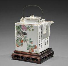 Antique Chinese Square Porcelain Teapot : Lot 35