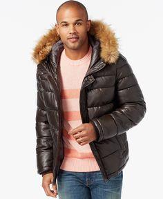6efa18b7873 Tommy Hilfiger Faux-Leather Puffer Hoodie Jacket   Reviews - Coats   Jackets  - Men - Macy s