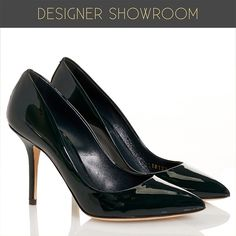 Make any outfit complete with these classically styled patent leather pumps. Unique emerald color on the genuine leather upper continues on the luxurious leather interior and the covered stiletto heel. Cushioned interior heel and leather sole.