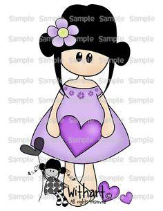 Purple Valentines Nina dolls 0371 clip art set images par Withart