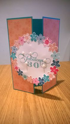 Stampin Up Card, petite petals, 30th birthday