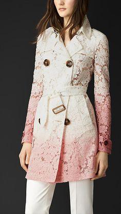 Antique rose/white Dégradé Lace Trench Coat - Image 1