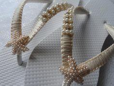 Ivory Wedding Flip Flops / Gold Pearls Starfish Flip Flops / Macrame Beach Flip Flops / Bridal Sandals / Bridesmaids Shoes..