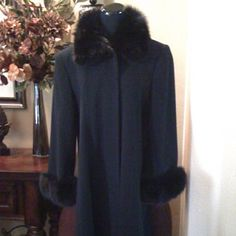 Full Length Coat with Fur Black winter coat with fur cuffs and neck. Marvin Richards Jackets & Coats