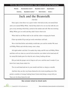 Fourth Grade Punctuation Comprehension Worksheets: Punctuation: Jack and the Beanstalk Worksheet