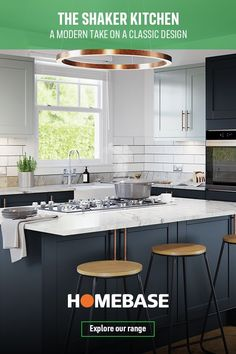 A modern take on a classic design. Pick from 4 shades to create your perfect kitchen. Open Plan Kitchen Dining Living, Living Room Kitchen, Home Decor Kitchen, Kitchen Interior, New Kitchen, Kitchen Design, Cuisines Diy, Shaker Kitchen, Making Ideas
