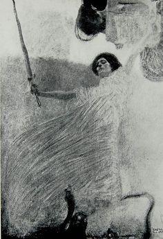 """Gustav Klimt, studio per """"Giurisprudenza"""" (c.1897-1898). Distrutto con altre opere dello stesso artista nell'incendio del Castello di Immendorf nel 1945 ad opera delle SS."""