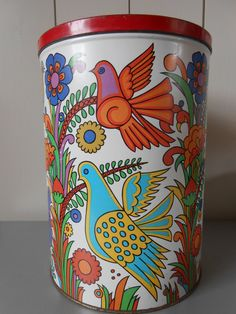 RESERVED FOR FRANCES Vintage 1970s extra large tin canister