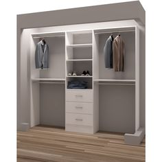 TidySquares Classic White Wood 87 Inch Reach In Closet Organizer Chrome