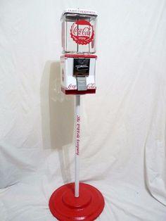 COCA COLA vintage gumball machine Northwestern glass globe Open Happiness +stand #vintageNorthwesterncandymachine