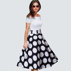 Summer Ladylike Patchwork Red Dots Vintage Slash Neck Chic Gorgeous Ball Gown Off Shoulder Casual Dress
