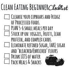 Clean eating beginner checklist! #eatCLEAN #getHEALTHY