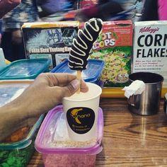 Frozen banana dipped dark chocolate , yogyakarta , indonesia