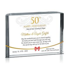 Find unique golden anniversary gifts celebrating 50 years of marriage. Happy Anniversary Mom Dad, Golden Wedding Anniversary Gifts, Anniversary Gifts For Parents, Parent Gifts, Unique Gifts, Awards, Marriage, Diy, Valentines Day Weddings