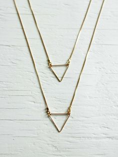 Gold Triangle Necklace – Layered Multi-Chain