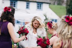 Real bride Hannah wore one of our long veils with a crystal scatter for her winter wedding.