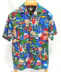 cfae55a9 Kalaheo Aloha Shirt L Short Sleeve Button Front Camp Collar Hawaiian Santa  Vtg